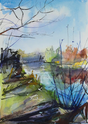 Watercolor painting of audubon lake in amherst ny in late autumn