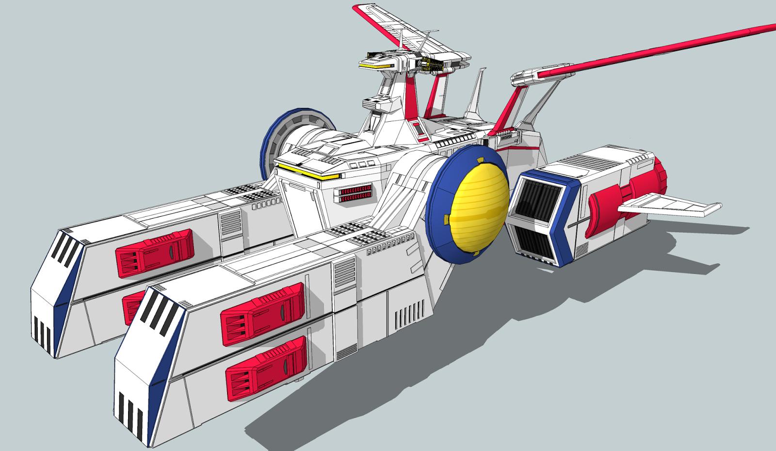 SketchUpでデジタルプラモ: ペガサス級強襲揚陸艦WHITE BASE