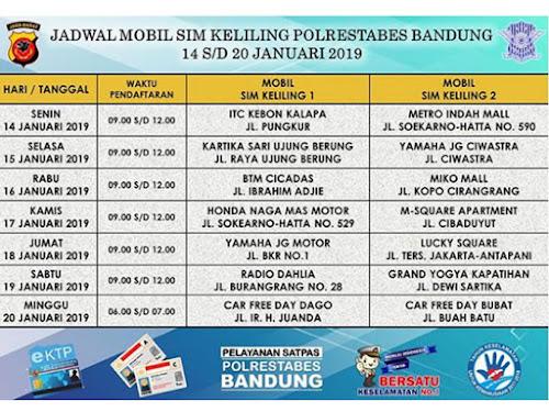 Jadwal SIM Keliling Polrestabes Bandung Bulan Januari 2019