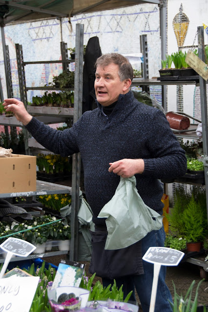 Market stall owner selling bulbs