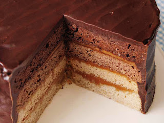 Chocolate, Vanilla & Caramel Layer Cake