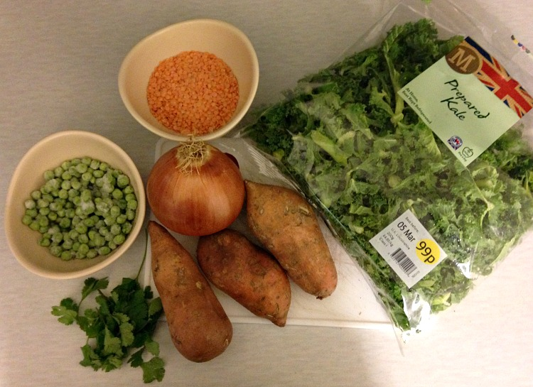 sweet potato, kale and coconut curry ingredients
