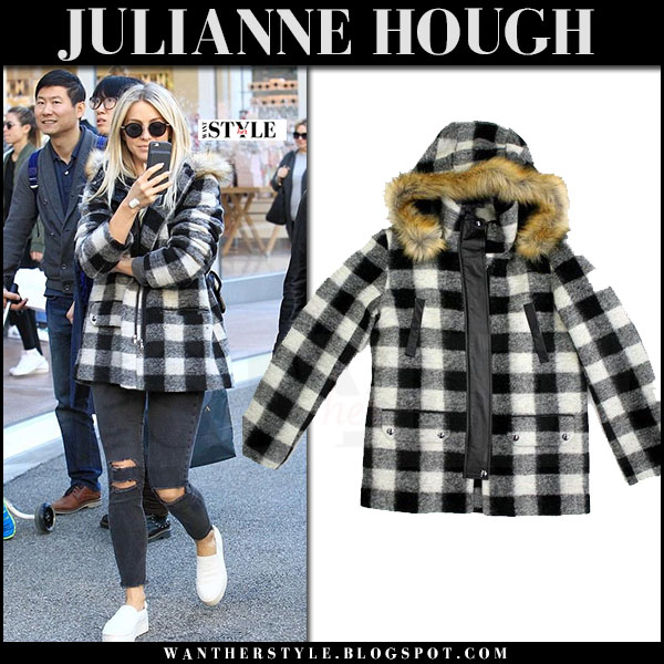 Julianne Hough in black and white plaid print coat joie roni and black jeans what she wore