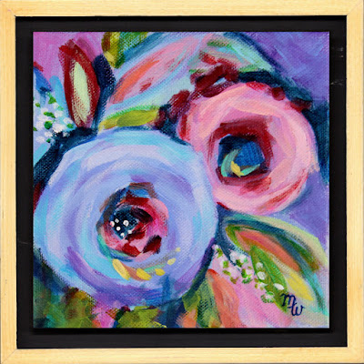 Daily floral painting by artist Merrill Weber framed flower painting
