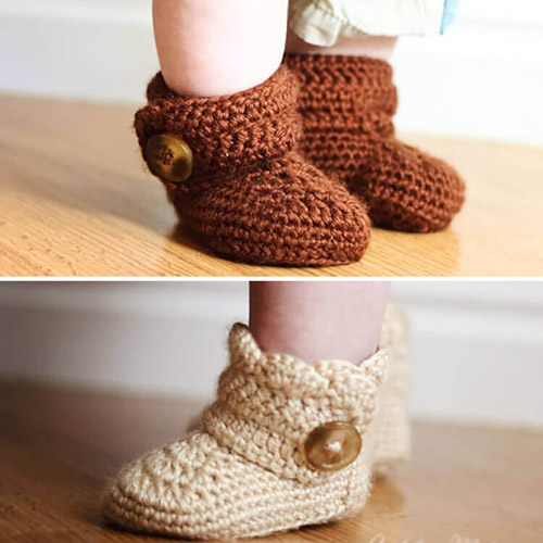Crochet Wrap Around Button Baby Boots - Free Pattern