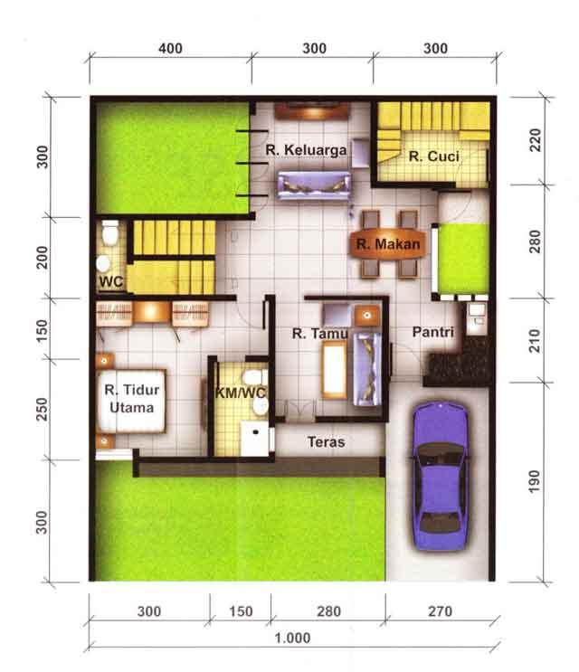 Contoh Denah Rumah Ukuran 10x12