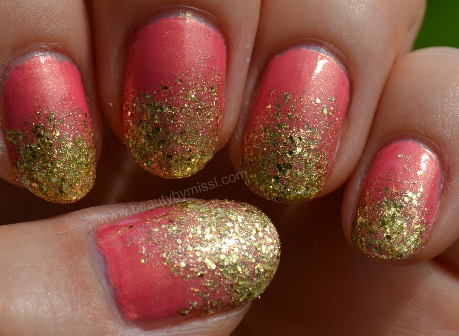 bling, pink gold nails