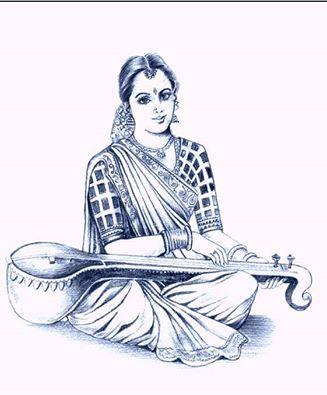 A beautiful indian women learning music pencil sketch