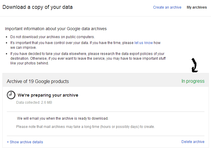 Download Google Data - In Process/Download