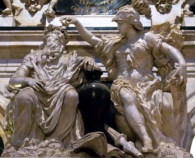 Virtue crowns Merit by Giovanni Bonazza, Santi Giovanni e Paolo, Venice