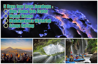 Blue Flame Ijen Crater, Mount Bromo, Waterfall, Rafting Tour 5 Days