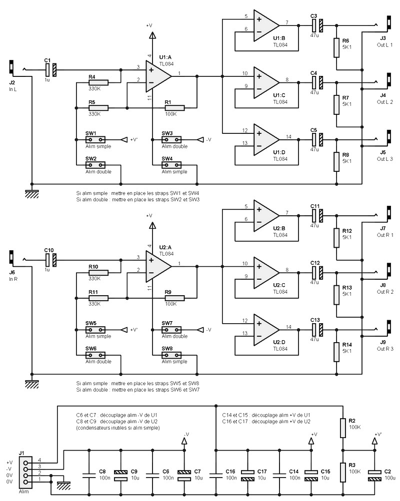 Audio Schematics Stereo Distributor C14 Wiring Diagram Of Course You Can Use Onlyhalf For In Mono The Following Description Is Based On First Module Consists U1 Top
