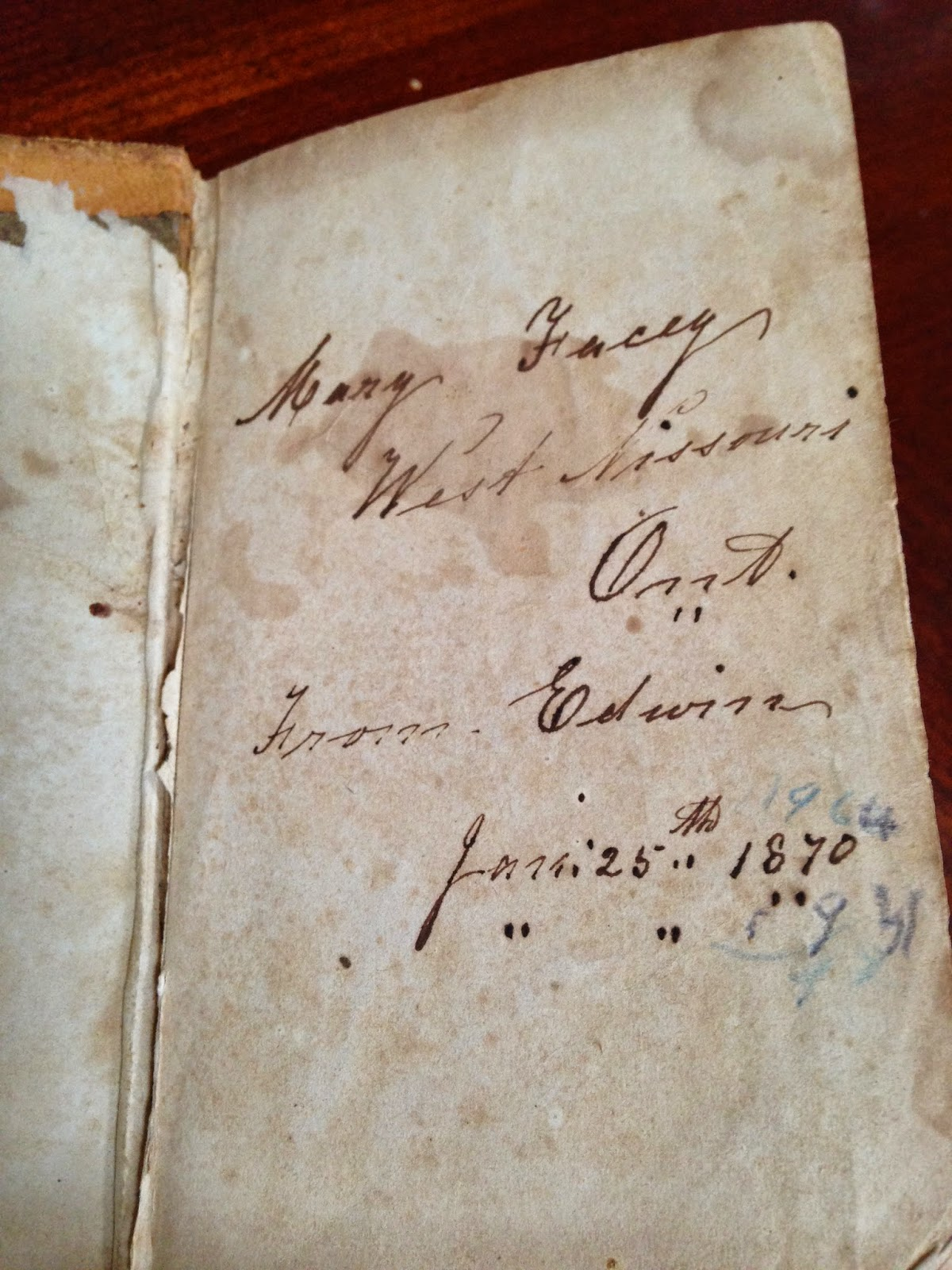 The 1870 Facey Hymn Book Goes to a New Home