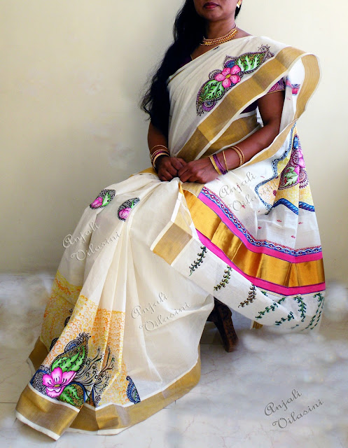 INTRICATELY HAND PAINTED KERALA COTTON SAREE