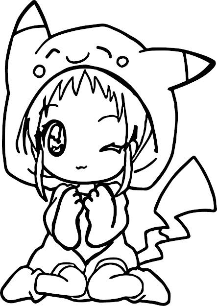 Anime Girl Pikachu Dress Coloring Page