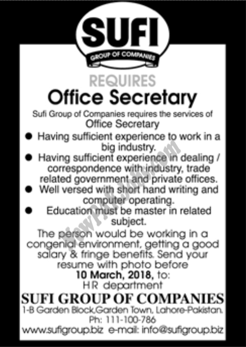 Sufi Group of Companies mein Office Secretary Ki Job, Nokri