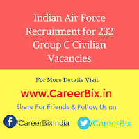 Indian Air Force Recruitment for 232 Group C Civilian Vacancies