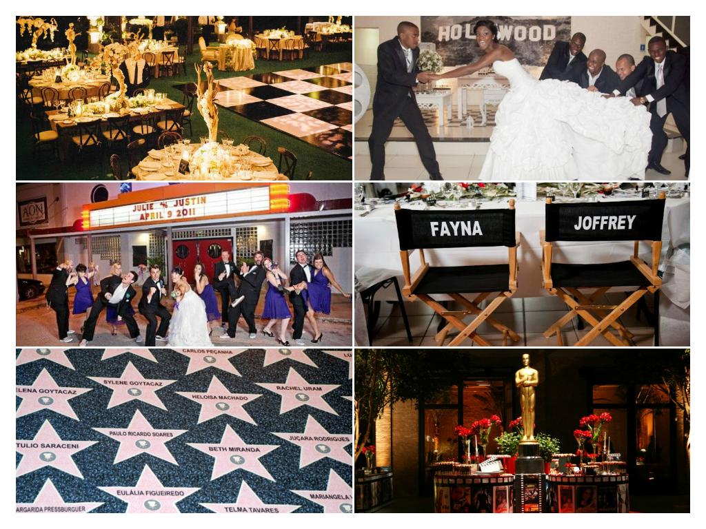 decoração de casamento temático e Hollywood