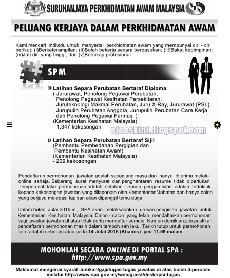 1,556 Kekosongan Jawatan Kosong Terkini di KKM