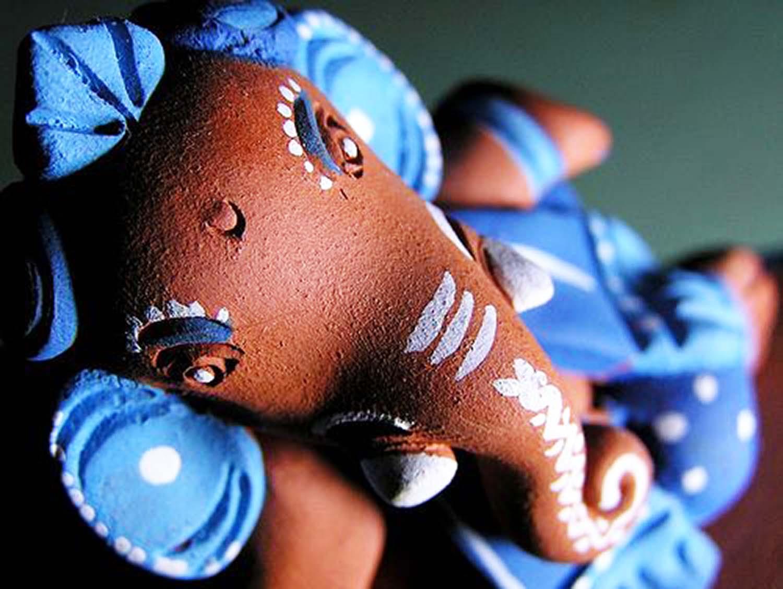 Organic Ganesh Idol in blue!