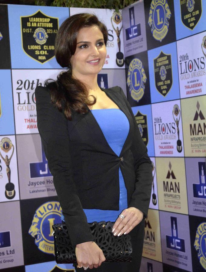 Monica Bedi In Blue Coat At lions Gold Awards