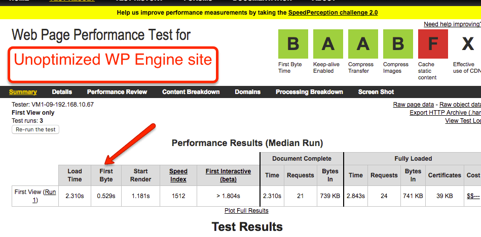 WP Engine Unoptimized Speed