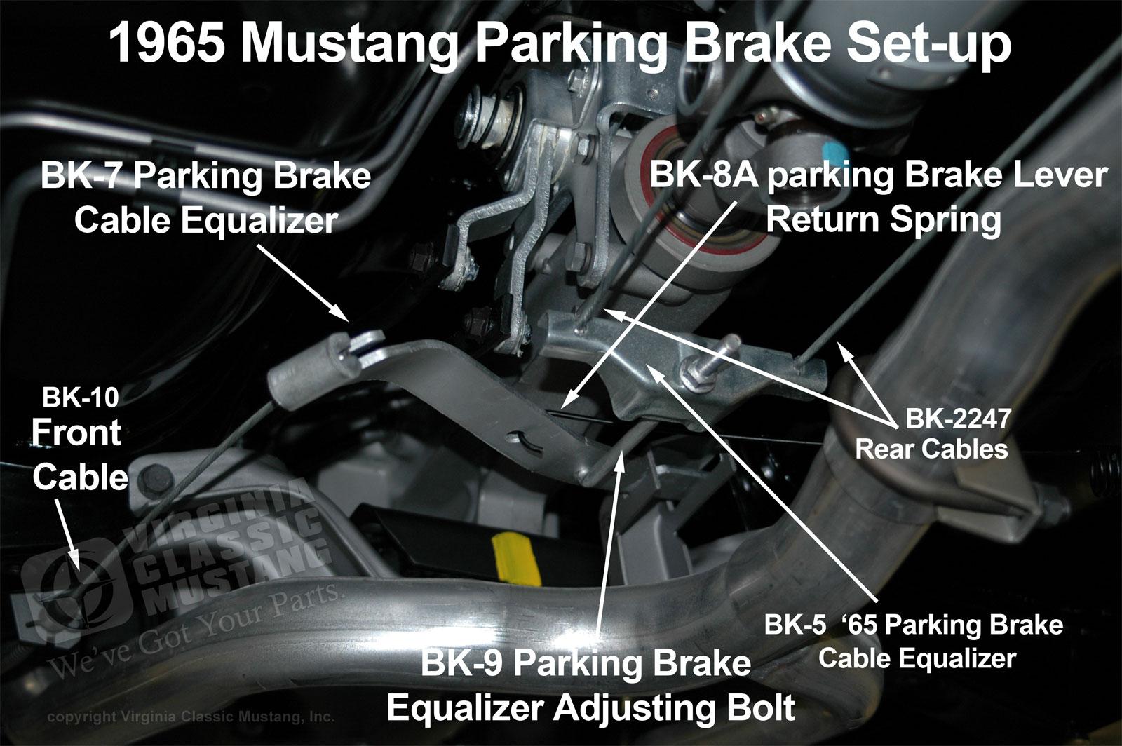 medium resolution of 1965 mustang parking brake set up