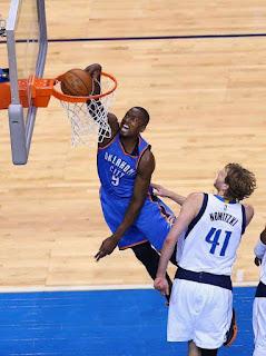 Ibaka dunk on Dirk Nowitzki, (El Cubano)