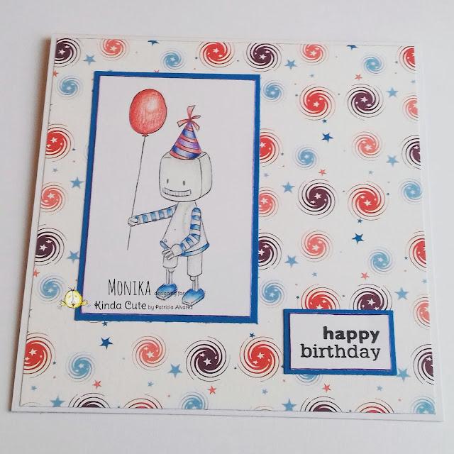 Birthday card using birthday robot digital stamp
