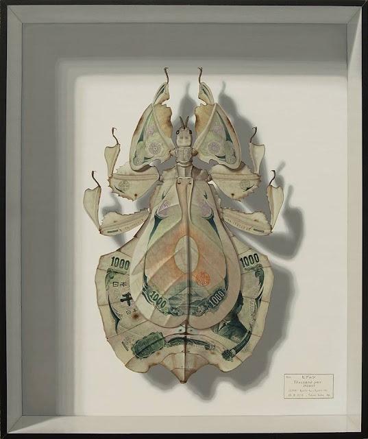 1000円札に擬態するコノハムシ、アート