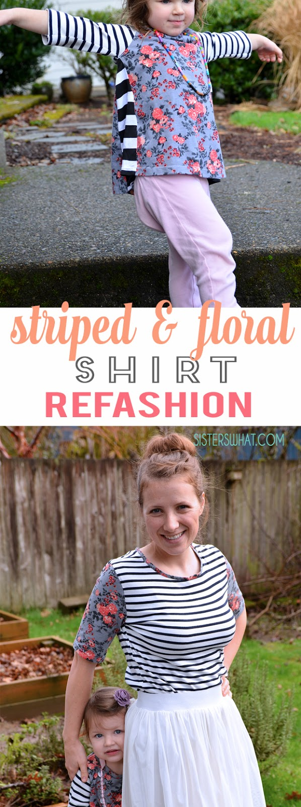 such an easy shirt refashion! simply cut off an old shirt sleeves and add new sleeves with a different pattern fabric!!