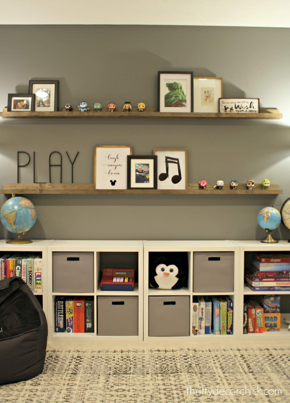 Using cubby units for pretty game storage