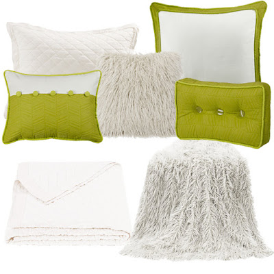 Capri bedding Euro Sham and decorative throw pillows, White Mongolian Faux Fur, Vintage White diamond linen quilt and pillow sham
