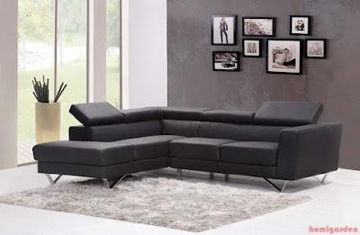 Stylish modern living room furniture design black comfortable sofa set with rug