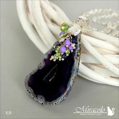 Miracolo, agat z druzą, agate druzy, iolit, perły