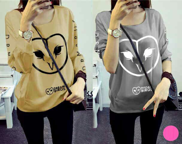 Jual Baju Lengan Panjang Emoticons Bird Blouse - 13378