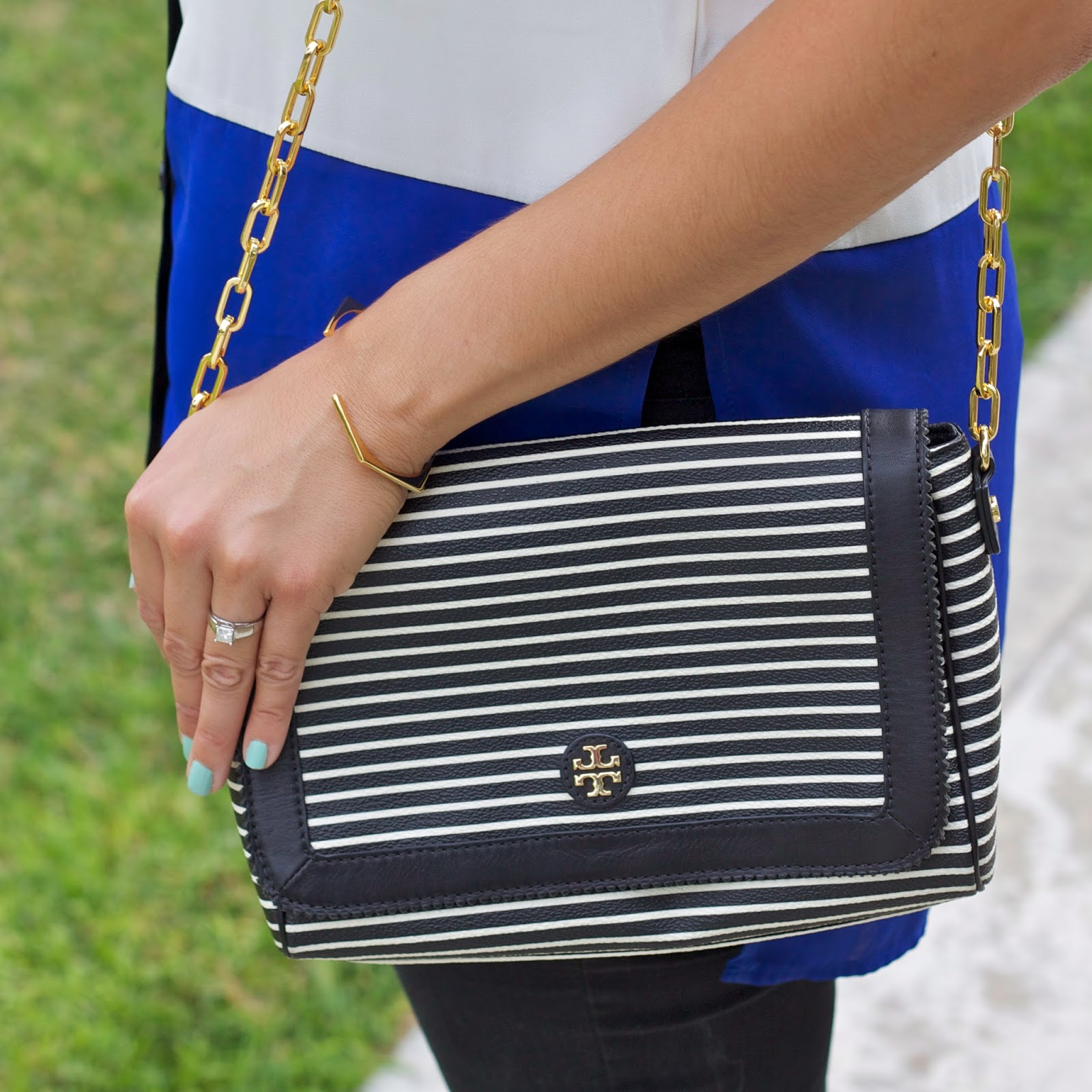 Striped Tory Burch handbag, Striped Tory Burch purse, Gorjana bangle, Gorjana blogger