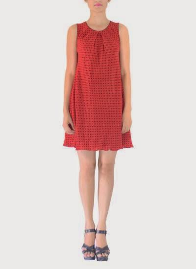 5973ecfe6f487 the Red Fine Polka Dots Dress of Designer Michelle Salins