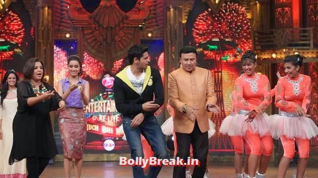 Farah Khan, Shraddha Kapoor, Sidharth Malhotra and Anu Malik, Shraddha, Sidharth promote Ek Villain on Entertainment Ke Liye Kuch Bhi Karega
