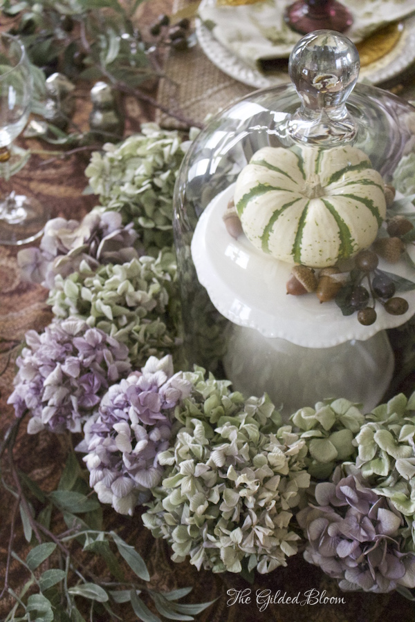 Pumpkin & Hydrangea Centerpiece- Creating a Mix-and-Match Thanksgiving Table- www.gildedbloom.com