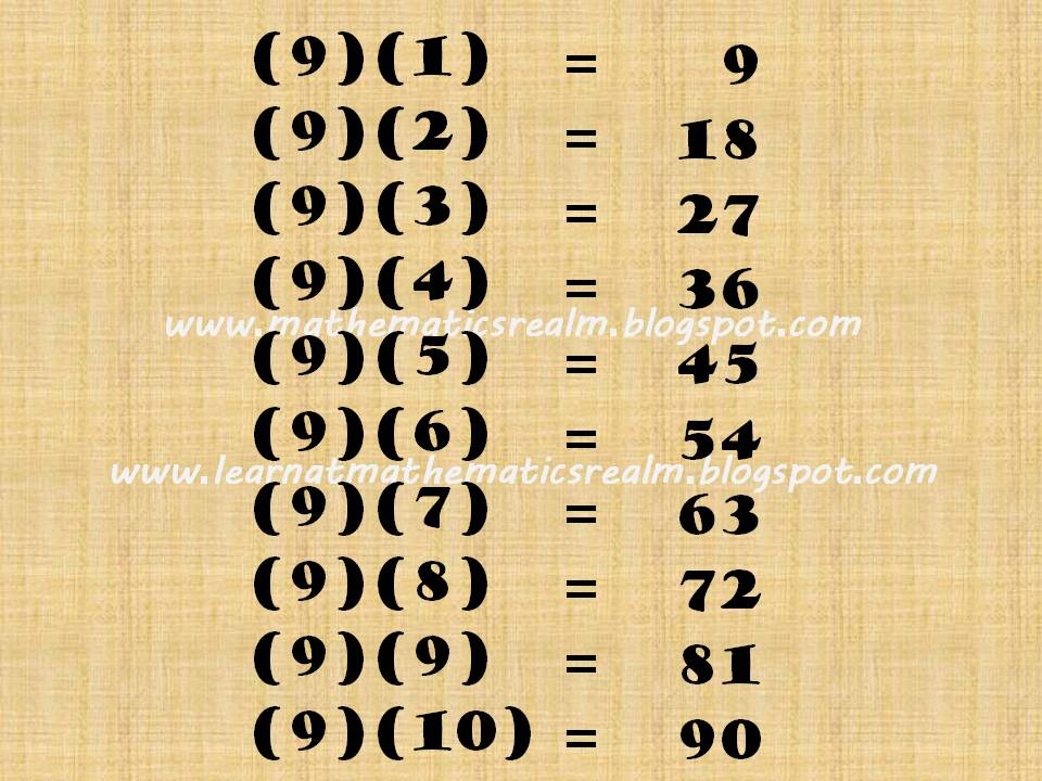 Multiples Of 9 Pattern on Simple Math