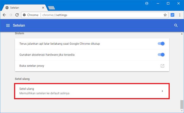 setel ulang Chrome (reset)