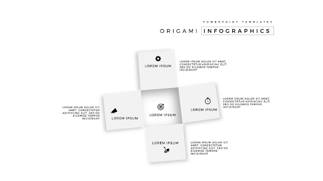 4 Icon options of Abstract Origami Infographics for PowerPoint Templates in wihte Background