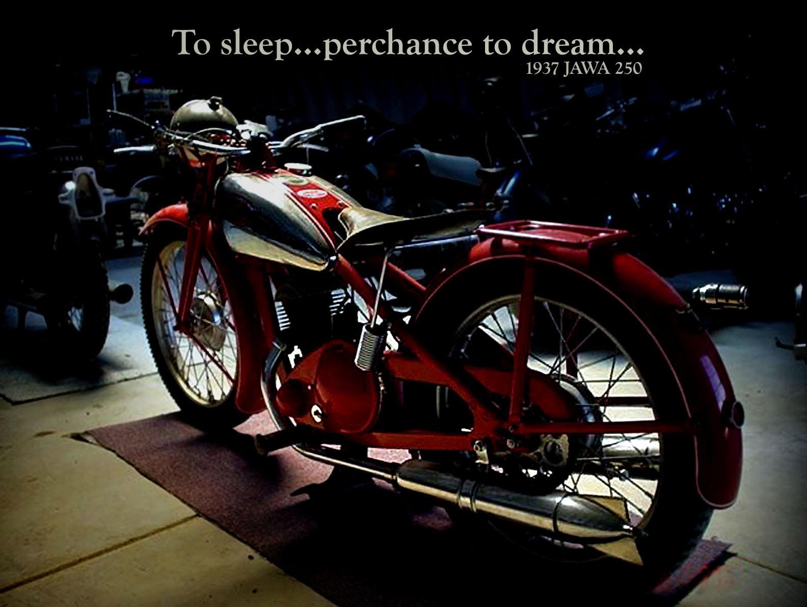 Motorcycle in dark room.