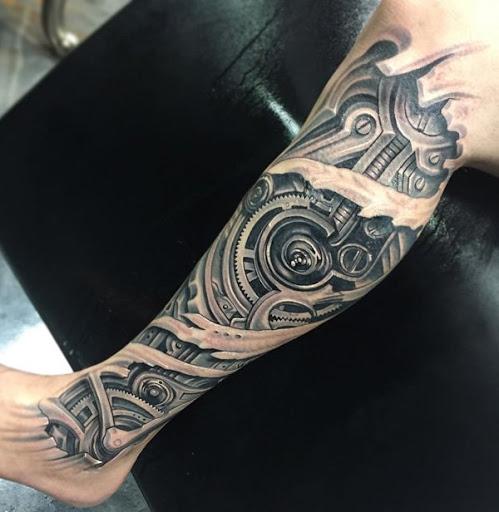 Aqui está outro encerrando mecânicas em 3D design artes. Esses tipos de tatuagens em geral, não tem qualquer significado, mas fazê-la por causa do aspecto legal não é realmente uma má idéia. Na verdade, é um grande projeto, se você apenas quer fazer uma tatuagem.