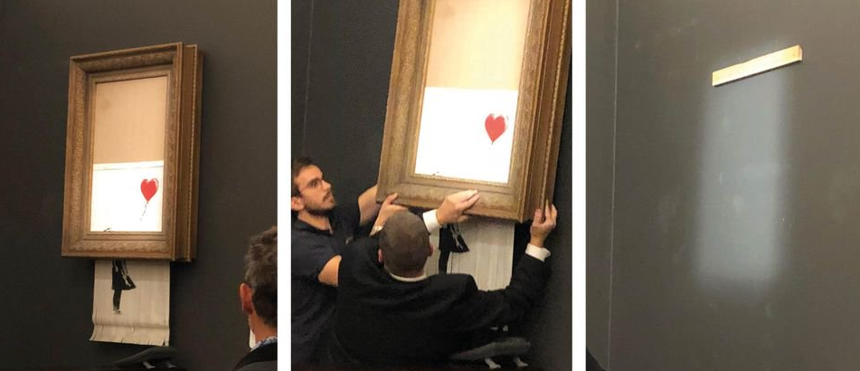 Incredibile: Quadro prezioso si autodistrugge all'asta, è l'impulso creativo di Banksy.