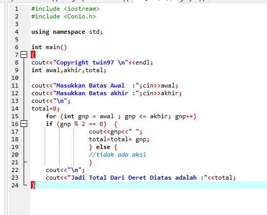 Cara Membuat Bilangan Genap Dengan Batas Pada Bahasa C++