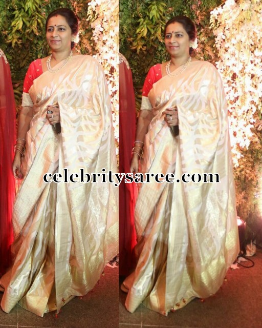 Naga Babu wife Silk Sari