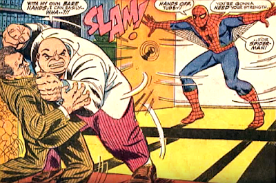 Amazing Spider-Man #52, john romita, spider-man bursts in on the kingpin who is threatening to kill fred foswell