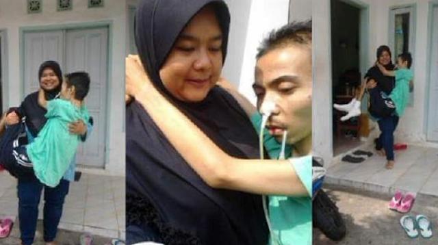 Kisah Wanita Gendong Suami yang Sedang Sakit Ini Gerakkan Hati Ribuan Netizen, Begini Ceritanya